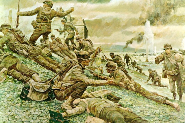 """FIRST WAVE AT OMAHA: THE ORDEAL OF THE BLUE AND GRAY. Behind them was a great invasion armada and the powerful sinews of war. But in the first wave of assault troops of the 29th (Blue and Gray) Infantry Division, it was four rifle companies landing on a hostile shore at H-hour, D-Day - 6:30 a.m., on June 6, 1944. The long-awaited liberation of France was underway. After long months in England, National Guardsmen from Virginia, Maryland and the District of Columbia found themselves in the vanguard of the Allied attack. In those early hours on the fire-swept beach the 116th Infantry Combat Team, the old Stonewall Brigade of Virginia, clawed its way through Les Moulins draw toward its objective, Vierville-sur-Mer. It was during the movement from Les Moulins that the battered but gallant 2d Battalion broke loose from the beach, clambered over the embankment, and a small party, led by the battalion commander, fought its way to a farmhouse which became its first Command Post in France. The 116th suffered monre than 800 casualties this day - a day which will long be remembered as the beginning of the Allies' """"Great Crusade"""" to rekindle the lamp of liberty and freedom on the continent of Europe. Part of the National Guard (The Normandy Invasion: The Story in Pictures; CMH)"""