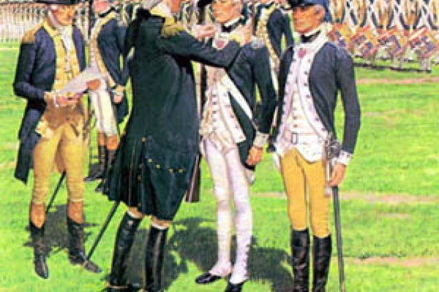 """After his victory over the British at Yorktown, Washington established his headquarter at Newburgh where he could keep a watchful eye on the English forces in New York. He hastened to remind his command that peace was not a foregone conclusion and military readiness must be maintained. Washington also continued his efforts to improve the condition of his troops and insure a high state of morale. One of the ways he decided to accomplish the latter was to create, on 7 August 1782, a """"Badge of Military Merit"""" for enlisted men who had performed bravely in combat. Surviving records for the period confirm the presentation of only one other Badgeof Military Merit, and the decoration was not used at all after the end of the Revolutionary War. It was revived in February1932 as the Purple Heart out of respect to Washington's memory and to his military achievements."""" The U.S. Army Center of Military History (CMH) commissioned H. Charles McBarron, the famed military artist, to create the original paintings for the """"Soldiers of the American Revolution"""" as part the bicentennial celebration of the American Revolution."""