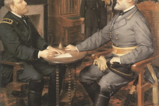 """Cover of National Park Service Handbook 109, APPOMATTOX COURT HOUSE (1980), from the painting by Louis Guillaume,""""Surrender of General Lee to General Grant, April 9, 1865,"""" owned by the Appomattox Court House National Historical Park (Courtesy of the National PArk Service)."""