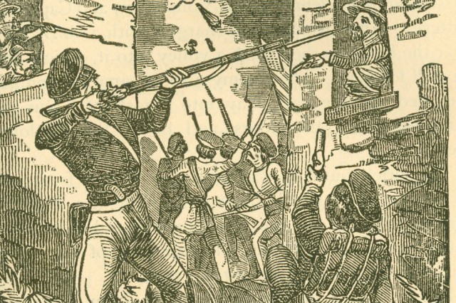 Urban Warfare, 1947: Illustration depicts a street fighting scene from the siege of Puebla, Mexico during the Mexican-American War.