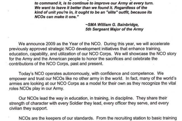 "Year of the NCO Senior Leader Message<br><a href=""http://downloads.army.mil/docs/2009yearofthenco.pdf"" target=""_blank"">Download (.pdf)</a><br><br> <a href="" http://www4.army.mil/yearofthenco/home.php"" target=""_blank"">Year of the Noncommissioned Officer Web site</a>"