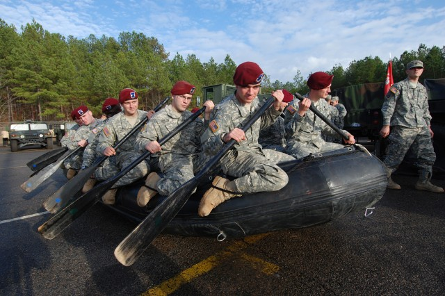 "Paratroopers from Company C, Brigade Special Troops Battalion, 2nd Brigade Combat Team, 82nd Airborne Division, practice using an RB-15 inflatable boat during the BSTB's ""cross brief"" training Dec. 15 which was designed to give troopers in the battalion an understanding of all the different capabilities within the BSTB."
