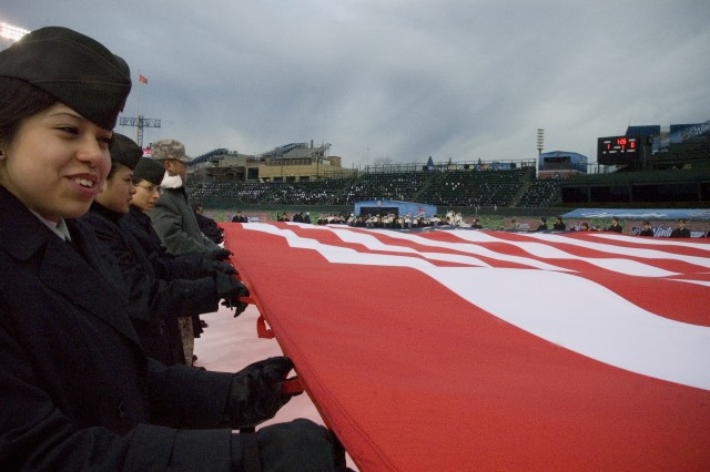 JROTC Cadets from the George S. Patton Military Academy practice unfurling the American flag for the 2009 NHL Winter Classic January, 1 2009.  The Chicago Blackhawks played the Detroit Red Wings in the friendly confines of Chicago\'s Wrigley Field.