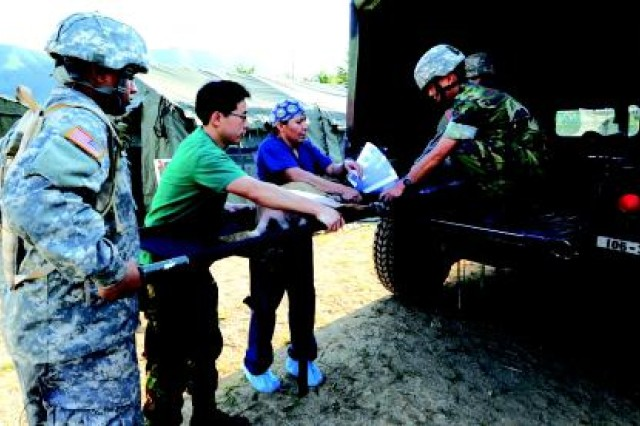 (Left to right) Pfc. David Juarez, an animal care specialist with the 129th Medical Detachment (Veterinary Medicine), Korean veterinarian 1st Lt. Park, Sung-gu, and Maj. Michelle Franklin, commander of the 129th, help load a military working dog onto a truck during an exercise at the First Republic of Korea Military Working Dog Center at Chuncheon, South Korea.