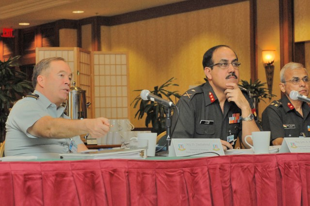 Honolulu, Hawaii (January 5, 2009) - Maj. Gen. David A. Fastabend, deputy chief of staff for strategy and strategic policy, U.S. Army, converses with Maj. Gen. A.K. Singh, Additional Director of Perspective Planning, Indian Army, during the the opening discussions of the 13th annual Indian Executive Steering Group. The week of meetings focuses on reviewing past endeavors between the two militaries and will develop and execute service-specific programs to enhance interoperability, strategic partnership and help deter transnational threats. Programs like this continue to strengthen the already good security cooperation with the Indian Army.