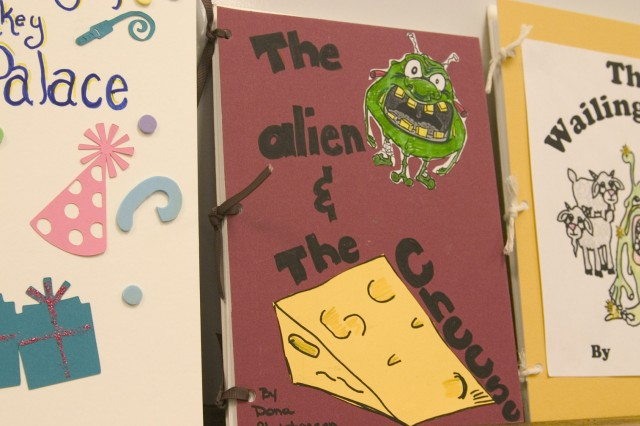 SCHOFIELD BARRACKS, Hawaii - Creative book covers lined a small room at the Sgt. Yano Library to inspire creativity in young authors. Children gained ideas to create their own cover to coincide with their newly written book.