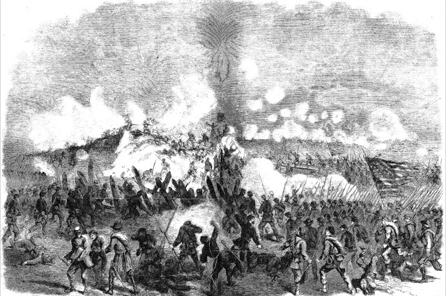 The Army storming Fort Fisher (Frank Leslie's Illustrated Newspaper, February 4, 1865).