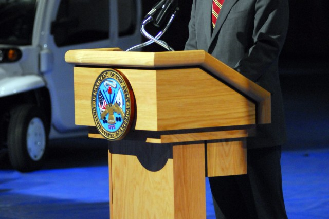"Secretary of the Army Pete Geren spoke Jan. 12 at Fort Myer, Va. during delivery of the first six ""neighborhood electric vehicles"" to the Army. The ceremonial delivery of the NEVs, which are entirely electric powered, represents the beginning of a leasing action by the Army to obtain more than 4,000 of the vehicles. The use of NEVs by the Army is part of its comprehensive and far-reaching energy security initiative to ease its dependence on fossil fuels. As part of that initiative, the service will be leveraging electric vehicles and other technologies that exist today, as well as exploring emerging technologies."