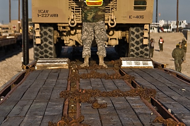 The ground guides are the eyes for the drivers as the trucks are slowly moved onto the rail cars at the railhead, Fort Head, Texas, Jan. 6. This is all in preparation for the Soldiers of the 1st Air Cavalry Brigade, 1st Cavalry Division, to make their movement to the National Training Center in Fort Irwin, Calif., Jan. 6.