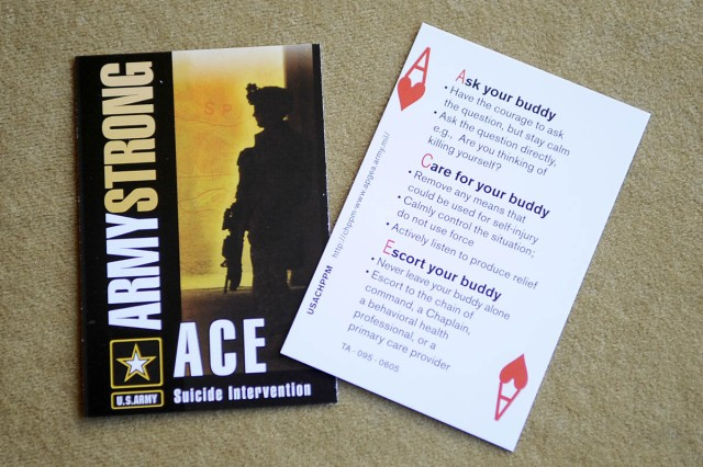 "The Army has developed an ACE ""Buddy"" card designed to help with suicide intervention."