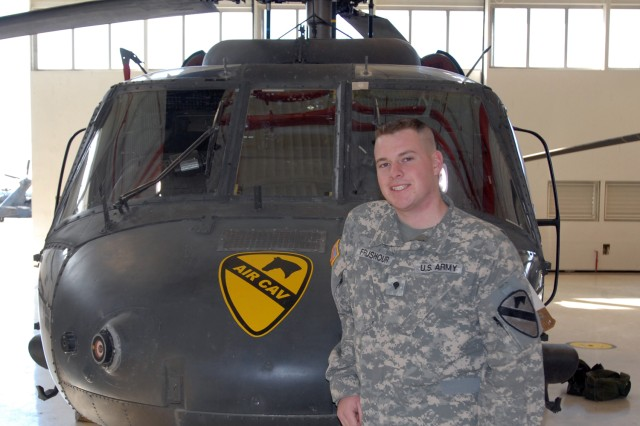 Denver native Spc. Ryan Frushour, a UH-60 Black Hawk crew chief, from Company B, 3rd Assault Helicopter Battalion, 227th Aviation Regiment, 1st Air Cavalry Brigade, 1st Cavalry Division, was instrumental in aiding a victim of a car crash that took place in Killeen, Texas, Dec. 31.