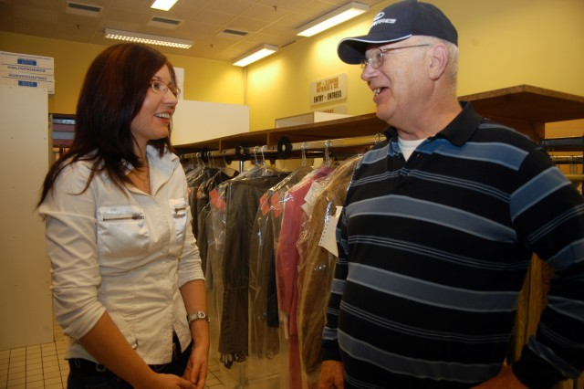 Bill Lilja, among the first U.S. Soldiers in Belgium since NATO moved its headquarters to Brussels from outside Paris in 1967, is a familiar face within the SHAPE and Chièvres communities. The self-taught, fluent French speaker spends a late afternoon chatting with SHAPE Drycleaners employee Nathalie Horuna.