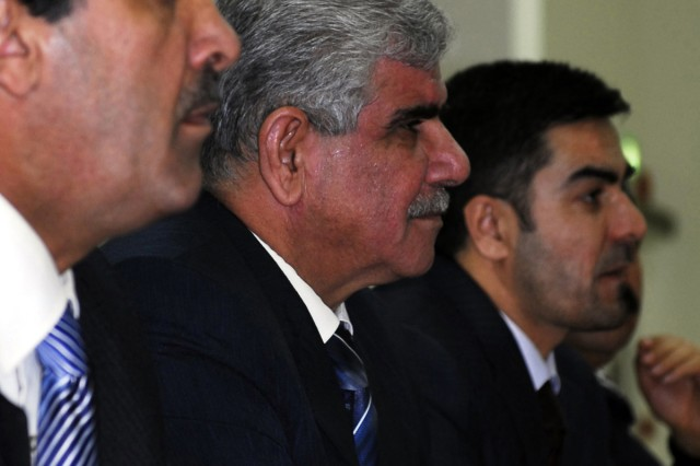 (center) Kirkuk Governor Abdul Rahman Mustafah Fata-eh listens to Sen. Joe Biden, D-Del., U.S. vice president-elect, Chairman of the Senate Foreign Relations Committee, during Biden's visit to Forward Operating Base Warrior to meet with local Kirkuk Provincial political officials, Jan. 13.  (U.S. Army photo by Spc. Karla P. Elliott, 11th Public Affairs Detachment.)
