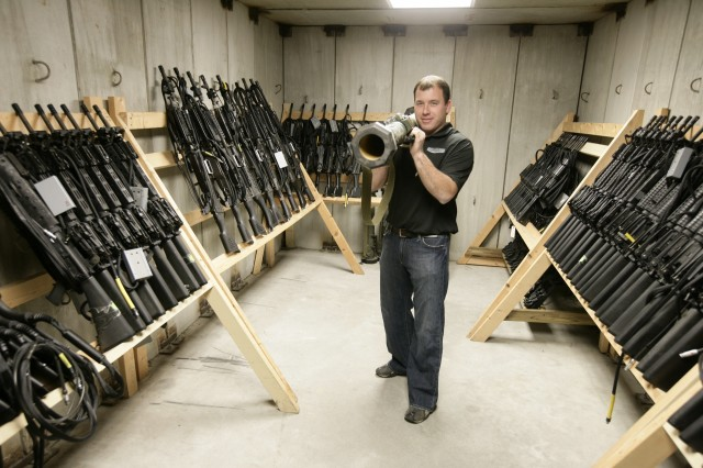 NASCAR driver Ryan Newman in Fort Bragg's weapons system vault