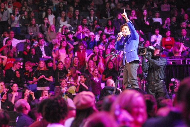 "Corbin Blue performed Jan. 19 at the ""We Are the Future"" concert in Washington, D.C. Thousands of children from military families around the National Capitol Region gathered Jan. 19 at the Verizon Center, in the heart of the nation's capital, to attend the ""We Are the Future"" concert, hosted by Michelle Obama, wife of President-elect Barack Obama. The concert featured performances by Miley Cyrus, the Jonas Brothers, Bow Wow, Demi Lovato and Corbin Blue. Country musician Billy Ray Cyrus appeared on stage and performed with daughter Miley. Keke Palmer and Usher Raymond IV also made appearances, as did comedian and actor George Lopez. Both Michelle Obama and Dr. Jill Biden, wife of Vice President-elect Joe Biden, made speeches during the event.  The event was one of many surrounding the Jan. 20 inauguration of President-elect Barack Obama."