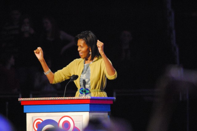 """Michelle Obama spoke at the """"We Are the Future"""" concert attended by thousands of military children Monday night."""