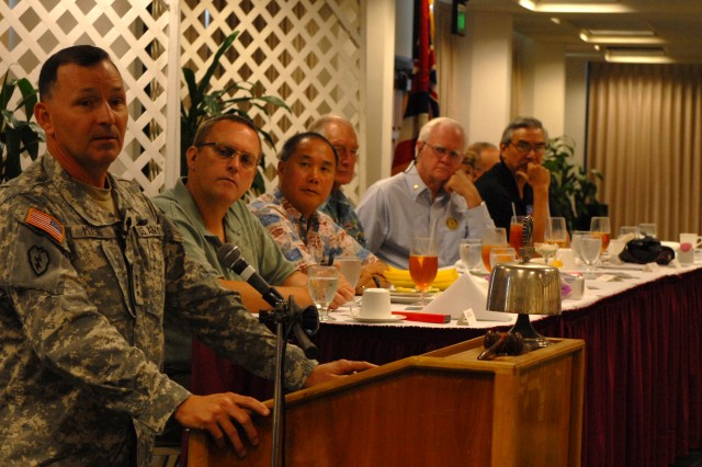 HILO, Hawaii -- Lt. Gen. Benjamin R. Mixon, commanding general, U.S. Army, Pacific, addressed several island of Hawaii rotary clubs at a luncheon Jan. 20.