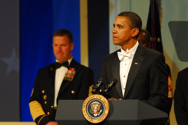 "During the Commander in Chief Ball Jan. 20 at the National Building Museum, President Barack Obama told military members he was proud of their service.  ""It is wonderful to be surrounded by some of the very best and bravest Americans,"" Obama said. ""Know that as president I will have no greater honor or responsibility than serving as your commander in chief."""