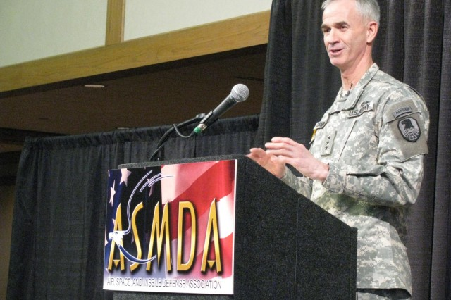 Lt. Gen. Kevin Campbell, commander of the Space and Missile Defense Command/Army Forces Strategic Command, talks about the significance of the nation's missile defense systems during the annual membership luncheon of the Air, Space and Missile Defense Association at the Von Braun Center's North Hall. More than 600 Soldiers, and defense civilians and contractors attended Friday's event.