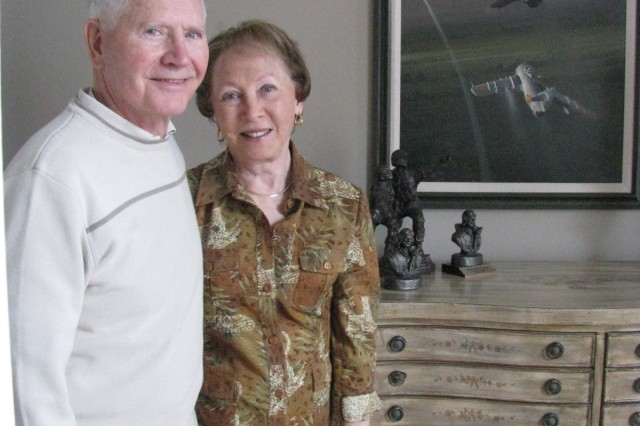 Vietnam POW Leo Thorsness and his wife, Gaylee, recently moved to Madison to be near family. One of their favorite pieces of art is the depiction by artist Bill Phillips of the firefight between Thorsness and his F-105 against an enemy MiG aircraft that won him the Congressional Medal of Honor. A few days later, Thorsness was shot down by another MiG and captured by the North Vietnamese. He spent six years as a Vietnam POW. Gaylee Thorsness was instrumental in leading a military wives group that brought national attention to the plight of the nation's Vietnam POWs and that helped to eventually lead to their freedom.