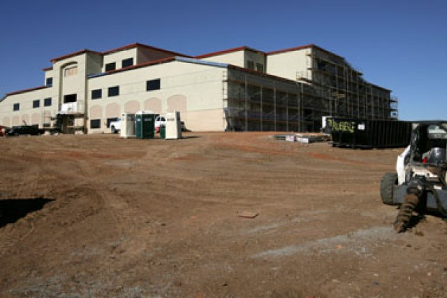 The main schoolhouse for the Air Defense Artillery School, one of 18 ADA buildings being built and 10 being renovated, is taking shape. The buildings, part of the BRAC-mandated move, are scheduled to be completed by 2011.