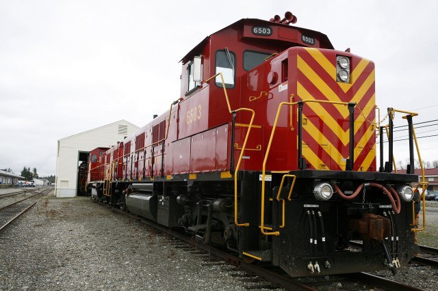 A newly acquired Ultra Low Emitting Locomotive sits on railroad tracks Jan. 13 at Fort Lewis.