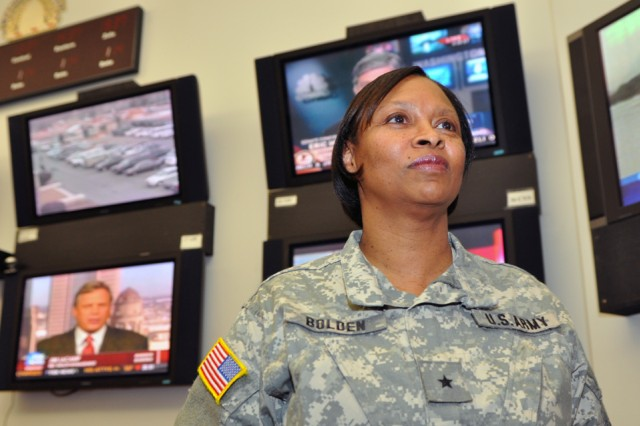 Brig. Gen. Barbaranette Bolden, commander, Joint Task Force-District of Columbia, oversees National Guard support to the inauguration from  the Operations Center at the D.C. Armory, Jan. 14.