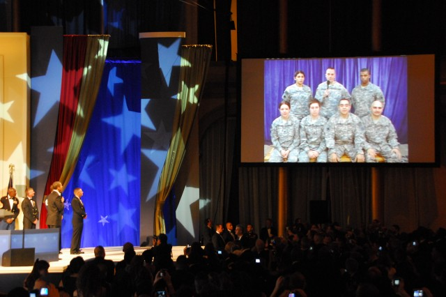 During the Commander in Chief's Ball, Jan. 20 at the National Building Museum, President Barack Obama spoke via teleconference to Afghanistan with Soldiers deployed there from the Illinois National Guard's 33rd Infantry Brigade Combat Team. He told those Soldiers he was proud of their service.