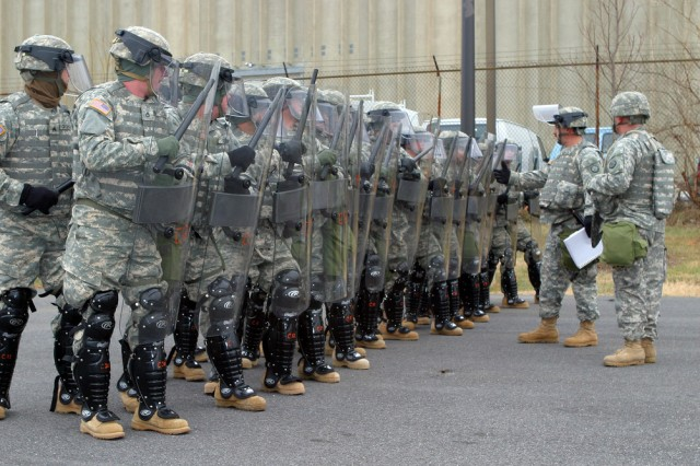 Soldiers in the West Virginia National Guard Quick Reaction Force train in Washington, D.C., prior to the 2009 Presidential inauguration. Soldiers were deployed to the nation's capital to support local law enforcement with traffic and crowd control and were prepared to respond to any type of civil disturbance.