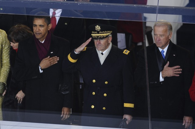 Chief of Staff of the Army Gen. George Casey Jr., flanked by President Barack Obama and Vice President Joe Biden, salutes as our nation's colors pass the reviewing stand during the 2009 presidential inaugural parade in Washington, D.C., Jan. 20, 2009. More than 5,000 men and women in uniform provided military ceremonial support to the presidential inauguration, a tradition dating back to George Washington's 1789 inauguration.