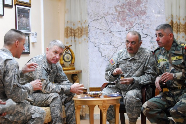 1st Armored Division Soldiers discuss election security, ongoing projects with Iraqi leaders