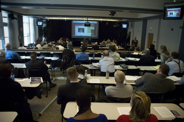 """Attorneys from Illinois participate in a live web cast with Capt. Lindsey Kimber, Staff Judge Advocate, 34 Task Force, Combat Action Brigade in Iraq, during a Veterans Advocacy Training seminar at John Marshall Law School in Chicago, Ill. January 23, 2009."""""""