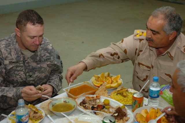 Brig. Gen. Mohammedali Kathem, Ammunition Director for the Iraqi Army, provided a special meal for Col. Curt Higdon, the G-3 operations officer for the 3rd Sustainment Command (Expeditionary) and other visiting key leaders from the 3rd ESC at the Bayji National Ammunition Depot, on Jan. 26.