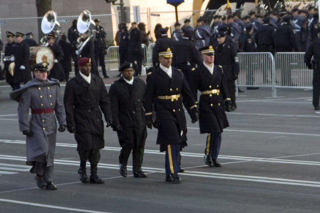 Lt. Col. Robert Forte, commander of 1st Battalion, leads the Army portion of the 56th inaugural parade.
