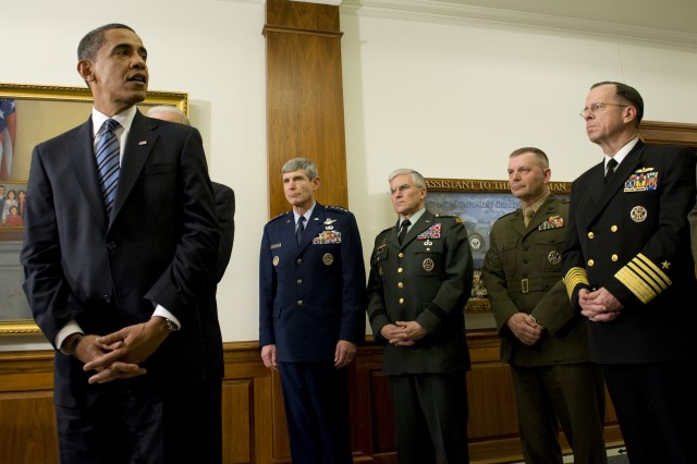 President Barack Obama addresses the media, Jan. 28, 2009, during his first visit to the Pentagon since becoming commander-in-chief. Obama and Vice President Joe Biden met with Defense Secretary Robert M. Gates and all the service chiefs, getting their input on the way ahead in Afghanistan and Iraq.