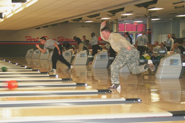 Warriors inTransition compete in the Adaptive Bowling Tournament Jan. 15 at the Fort Sam Houston Bowling Center. About 15 teams participated in the bowling tournament.