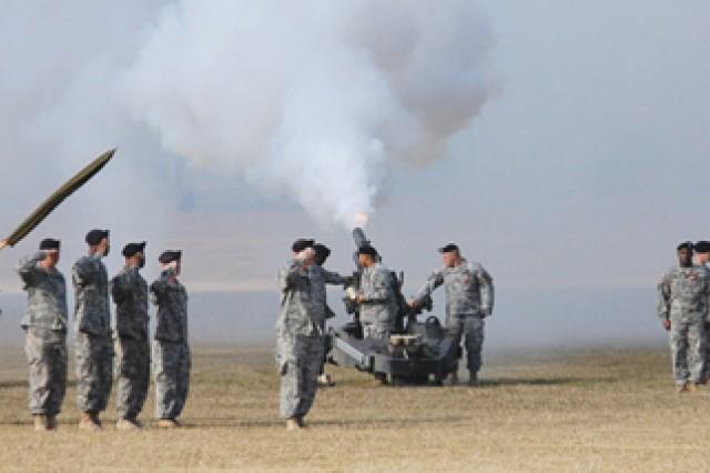 Members of the Louisiana National Guard fire an artillery salvo in honor of Sen. Mary Landrieu.