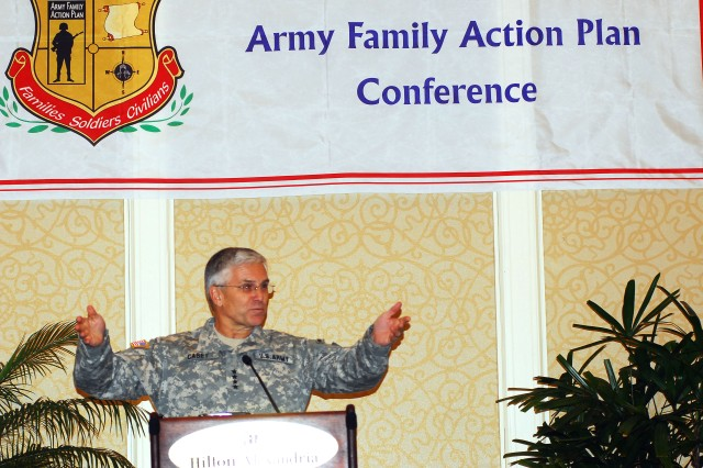 "Chief of Staff of the Army George W. Casey Jr. attended the final ""report out session"" of the 2009 Army Family Action Plan conference in Alexandria, Va., Jan. 26-30. Recommendations to Army senior leadership at the conference included providing time off for Soldiers to grieve the loss of a loved one, official photos for all Soldiers in the event they are killed in battle, and a place for Soldiers in barracks to keep their gear."