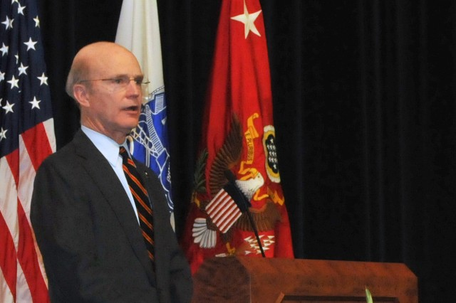 Secretary of the Army Pete Geren addresses the 4th Annual Leadership Symposium at Fort Belvoir, Va., Jan. 29. Geren said the Army vision will continue an enterprise approach to recruit, train, educate, develop and retain talent in the Army civilian corps.