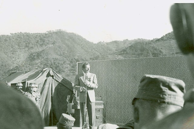 """Danny Kaye at """"Jolson Bowl"""" in Korea  October 21, 1952 (Alfred Farris Collection)."""
