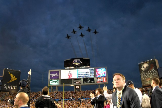 The U.S. Air Force Thunderbirds perform a flyover during the National Anthem during Super Bowl XLIII Feb. 1, at Raymond James Stadium in Tampa, Fla.