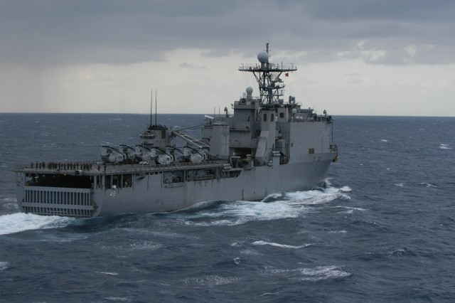 USS Harpers Ferry (LSD 49) sails to participate in Exercise Cobra Gold 09