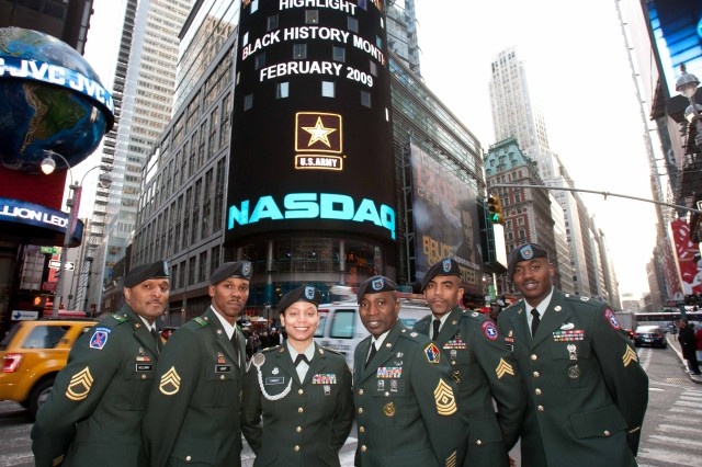 Soldiers from the NYC area participated in the closing bell festivities at the NASDAQ Feb. 2 in recognition of Black History Month.