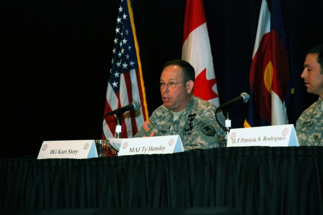 Brig. Gen. Kurt S. Story, Deputy Commanding General for Operations, U.S. Army Space and Missile Defense Command/Army Forces Strategic Command, chairs the warfighter panel at the 11th Annual SPACECOMM Defending America Symposium, conducted Jan. 28 at the Broadmoor Hotel.