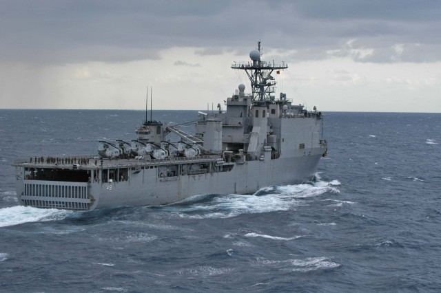 The forward-deployed amphibious dock landing ship USS Harpers Ferry (LSD 49) sails in route to participate in Exercise Cobra Gold 09 (CG 09). CG 09 is an annual Thailand and U.S. co-sponsored joint coalition multinational military exercise designed to train a Thai, U.S. and Singaporean Coalition Task Force.  The exercise will also include humanitarian civic action projects with participating nations from Indonesia, Japan, Singapore, Thailand and the U.S, and a U.S. Thai military field training exercise.  Exercise Cobra Gold provides unique and dynamic training opportunities for participating military partners, while promoting relationship building between militaries and local communities.