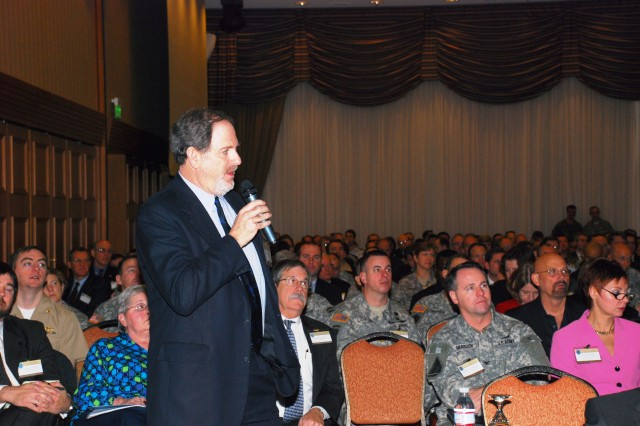 GARMISCH, Germany - Senior State Department official Louis Mazel gives a brief to more than 400 participants of U.S. Africa Command's annual Theatre Security Cooperation Working group (TSCWG) Conference, Feb. 3, 2009, in Garmisch, Germany.
