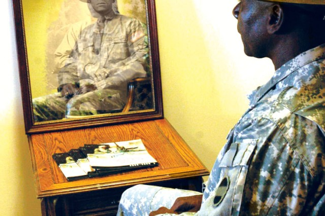 "At right, Sgt. Maj. Willie Robinson, sergeant major for U.S. Army Force Command's G3/5/7, reflects on the African-American Soldiers who served before him. ""With more than 30 years serving in uniform, I appreciate the struggles of those NCOs who paved the way for us to have the opportunities that we have. Today's NCOs, of all nationalities, can learn a lesson from the 'old Soldier': love yourself and the acceptance of others will follow."" (Photo illustration)"