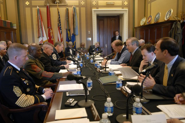 Sgt. Maj. of the Army Kenneth O. Preston and the senior noncommissioned officers of other services appear Wednesday before the House Appropriations' Subcommittee on Military Quality of Life and Veterans Affairs.