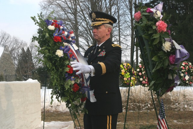 Brigadier Gen. Patrick Finnegan, dean of the academic board, places a wreath at the gravesite of former President Franklin D. Roosevelt and his wife, Anna Eleanor Roosevelt, to honor the president\'s 127th birthday Jan. 30 in Hyde Park, NY. The ceremony, which involved six cadets from 4th Regiment who served as the honor guard and 14 Soldiers from West Point who served as the firing party and the flag bearers, took place in the Rose Garden at the FDR Presidential Library and Museum.