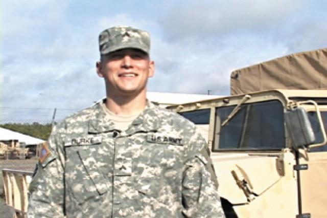 <b> Cpl. Corey B. Burke</b>; <b> Age: </b> 22; <b> Current Position: </b> Brigade Commander's Assistant Gunner/ Dismount Team Leader; <b> Current Unit: </b>1st Brigade Combat Team, 3rd Infantry Division; <b> Component: </b> Active Army; <b> Current Location: </b>Fort Stewart; <b> Hometown: </b> Columbus, Ohio; <b> Years of Service: </b> 3